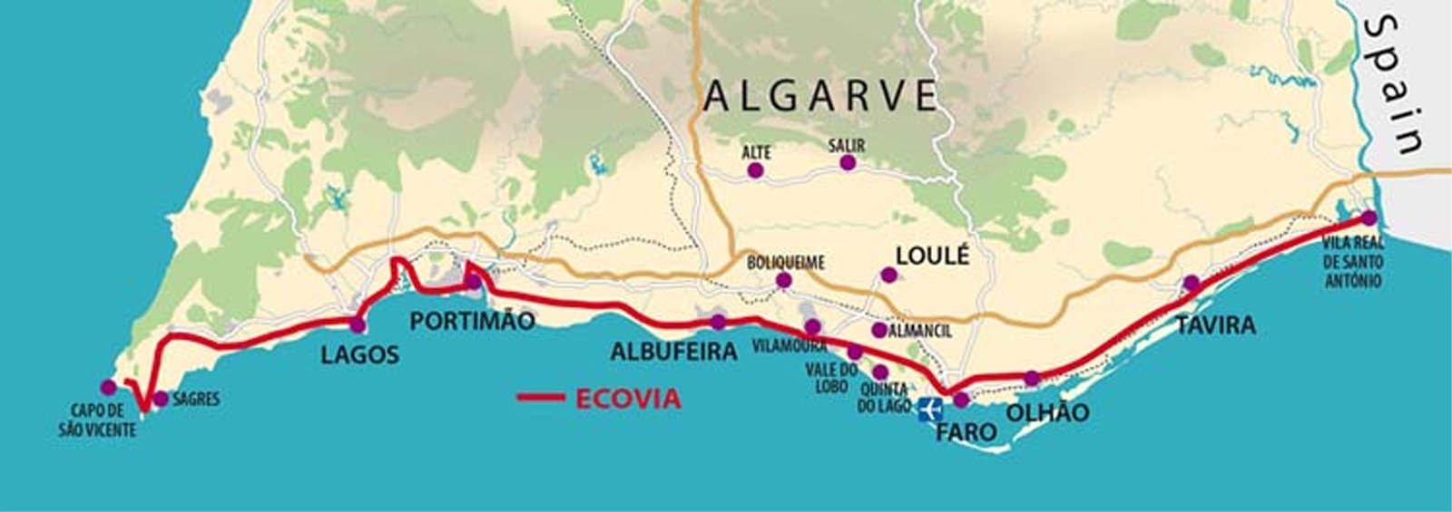 mapa do algarve completo Ecovia Litoral do Algarve   Algarve Portal mapa do algarve completo